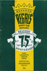 Brandon Regals 1956-57 game program