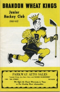 Brandon Wheat Kings 1961-62 game program