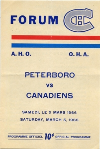 Montreal Junior Canadiens Game Program