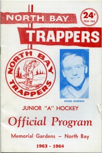 North Bay Trappers 1963-64 game program