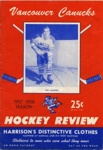Vancouver Canucks 1957-58 game program