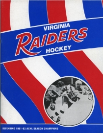 Virginia Raiders 1982-83 game program