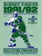 Surrey Eagles 1991-92 program cover